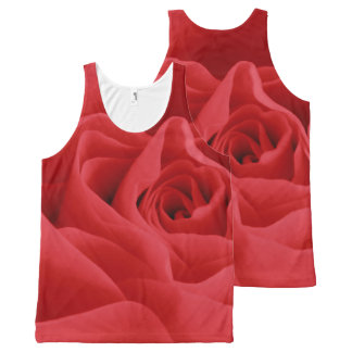 Red Rose Petals All-Over Print Tank Top
