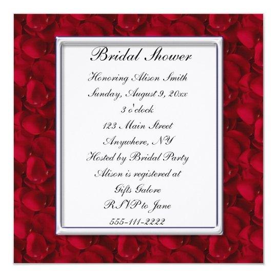Red Rose Petals Bridal Shower Invitation