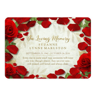 Red Rose Petals Golden Memorial Service Invitation