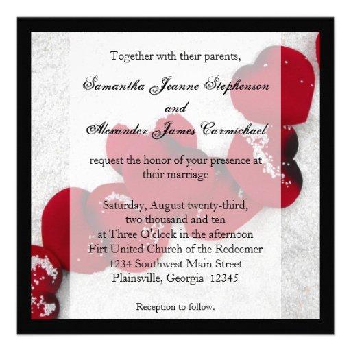 Red Rose Petals in Snow, Winter Wedding Invitation
