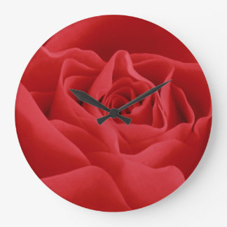 Red Rose Petals Large Clock