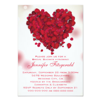 Red Rose Petals Love Heart Bridal Shower 13 Cm X 18 Cm Invitation Card