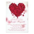 Red Rose Petals Love Heart Bridal Shower Card