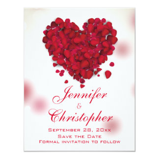 Red Rose Petals Love Heart Save the Date 11 Cm X 14 Cm Invitation Card