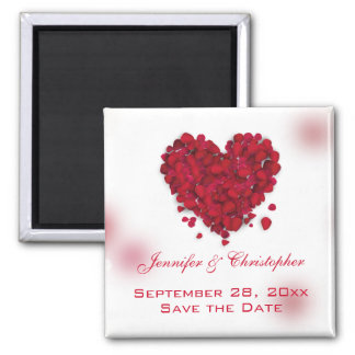 Red Rose Petals Love Heart Save the Date Magnet