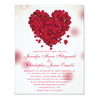 Red Rose Petals Love Heart Wedding 11 Cm X 14 Cm Invitation Card