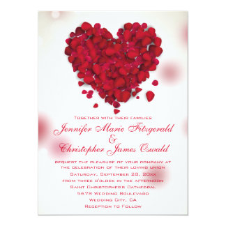 Red Rose Petals Love Heart Wedding 14 Cm X 19 Cm Invitation Card
