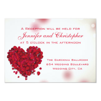 Red Rose Petals Love Heart Wedding Reception Card
