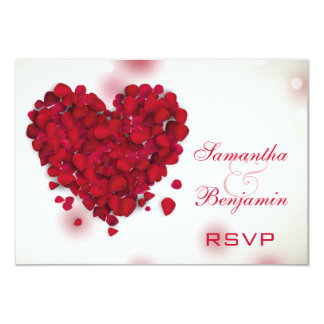 Red Rose Petals Love Heart Wedding RSVP 9 Cm X 13 Cm Invitation Card