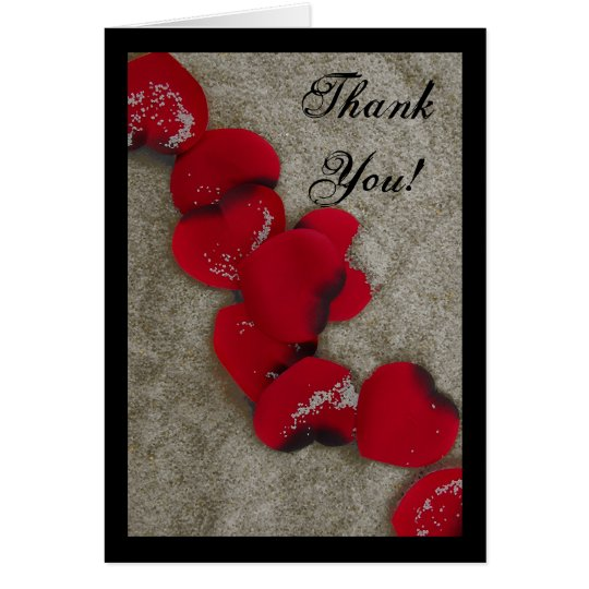 Red Rose Petals on Sand Beach Wedding Card