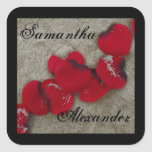 Red Rose Petals on Sand Beach Wedding Square Sticker