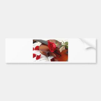 Red Rose Petals Romantic Violin Music Bumper Sticker