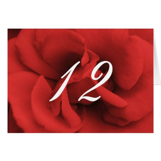 Red Rose Petals Wedding Table Numbers Greeting Card