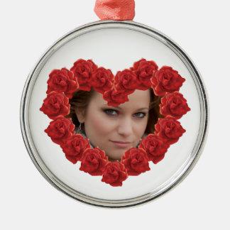 Red rose photo Circle Premium Round Ornament