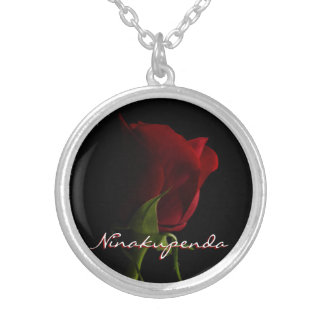 Red Rose Photo Necklace-Ninakupenda Silver Plated Necklace