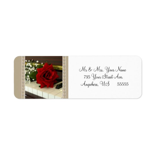 Red Rose Piano Return Address Labels Gift Tags