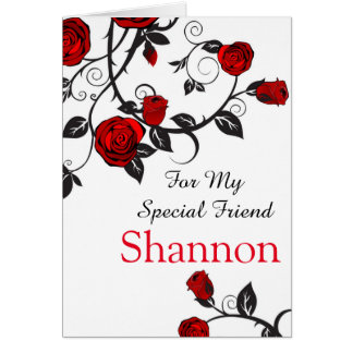 Red Rose Print Custom Name Birthday Card-Friend Card