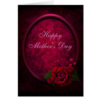 Red Rose Purple Frame Damask Mother s Day Card
