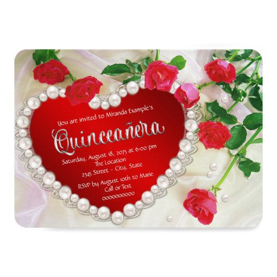 Red Rose Quinceañera Card
