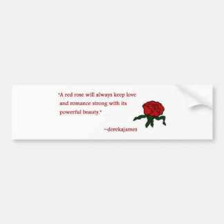 Red Rose Quote Bumper Sticker