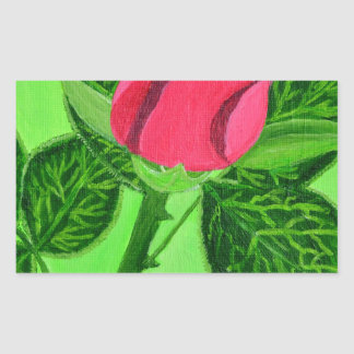 Red Rose Rectangular Sticker
