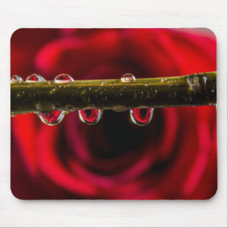 Red Rose Reflected in Water Drops Mouse Mat