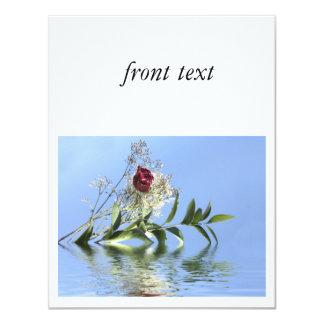 Red Rose & Reflection 11 Cm X 14 Cm Invitation Card