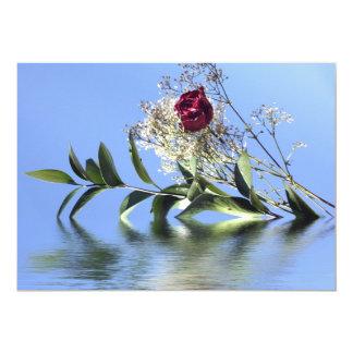 Red Rose & Reflection 13 Cm X 18 Cm Invitation Card