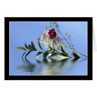 Red Rose & Reflection Greeting Card