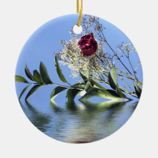 Red Rose Reflection Christmas Ornament