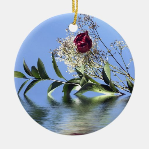 Red Rose & Reflection Christmas Ornament