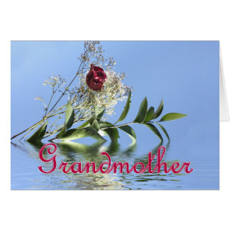 Red Rose & Reflection for Grandmother Mother's Day Greeting Card