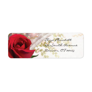 Red Rose Return Address Label