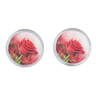 Red Rose Round Cuff Links-w/Monogram Silver Finish Cufflinks