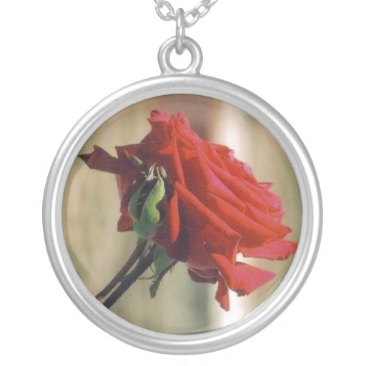 Red Rose Round Pendant Necklace