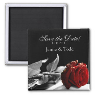 Red Rose Save the Date Fridge Magnet