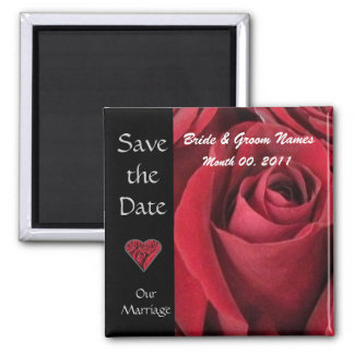 Red Rose Save The Date Magnet