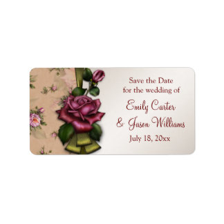 Red Rose Save The Date Postage Address Label