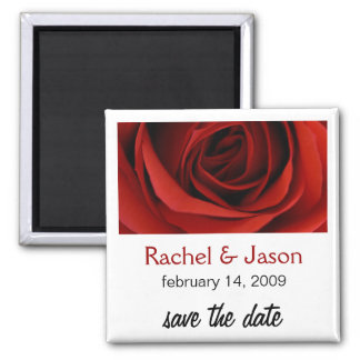 Red Rose | Save the Date Square Magnet