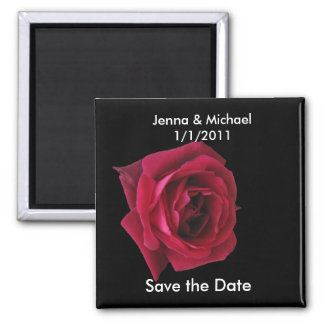 Red Rose Save the Date Wedding Magnet