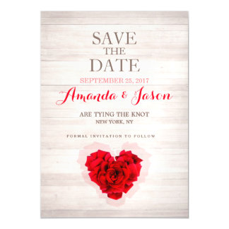 Red rose save the dates magnetic card hhn01