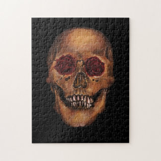 Red Rose Skull Illustration Puzzle