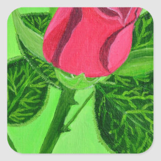 Red Rose Square Sticker