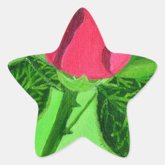 Red Rose Star Sticker