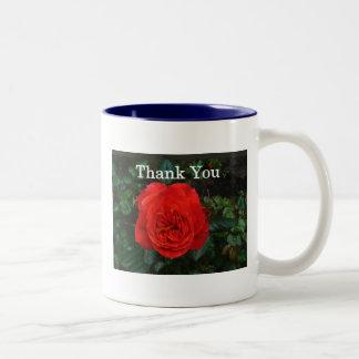 Red Rose Thank You Two-Tone Mug