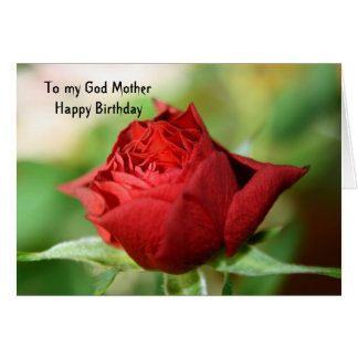 Red Rose  To my God Mother Happy Birthday Card