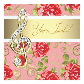 Red Rose Treble Clef Recital Invitation