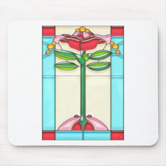 Red Rose Tree Stained Glass in Art Deco Style Mouse Mat