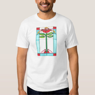 Red Rose Tree Stained Glass in Art Deco Style T Shirts