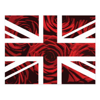 Red Rose Union Jack British(UK) Flag Postcard
